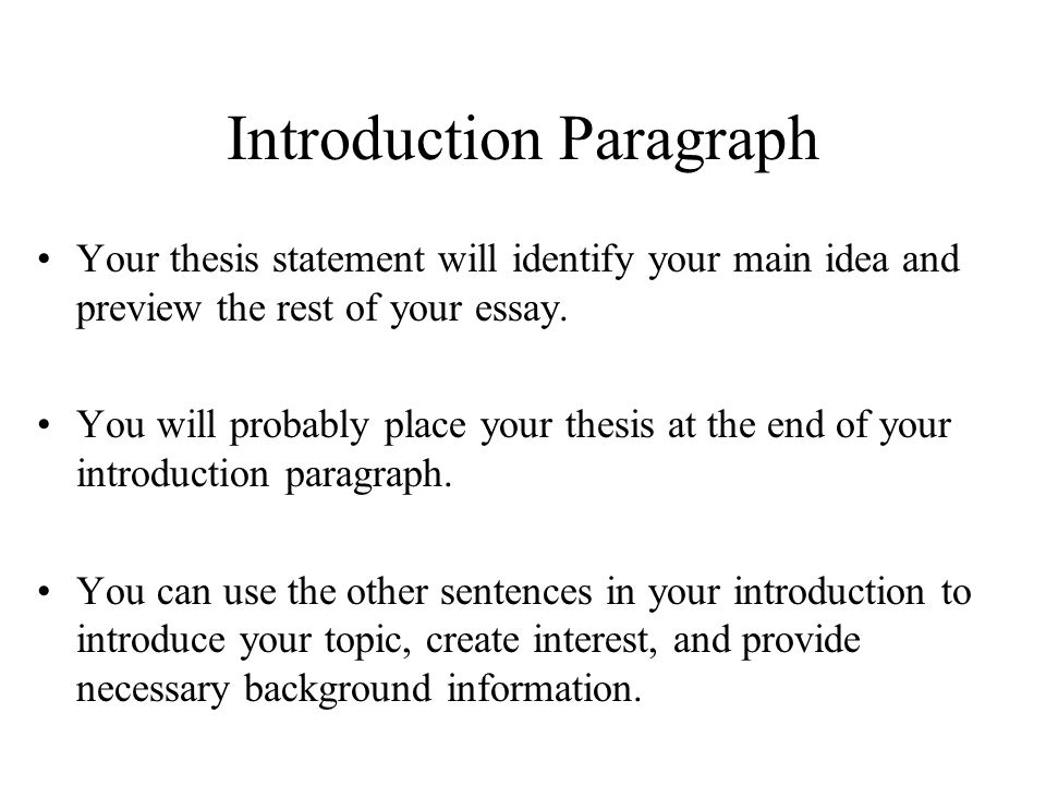 The intro sentence to an essay