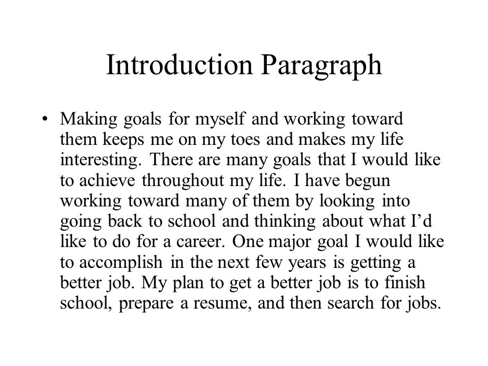 Write my paragraph for me goals