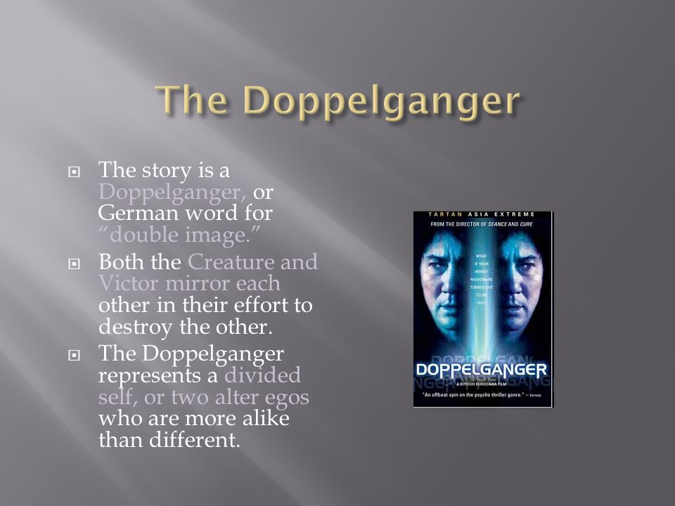 The Doppelganger The story is a Doppelganger, or German word for double image.