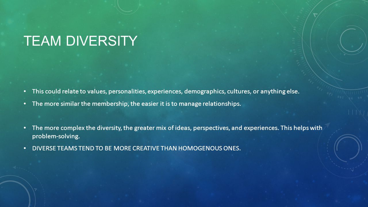 Team diversity This could relate to values, personalities, experiences, demographics, cultures, or anything else.