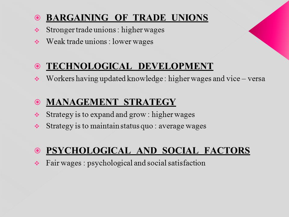 BARGAINING OF TRADE UNIONS