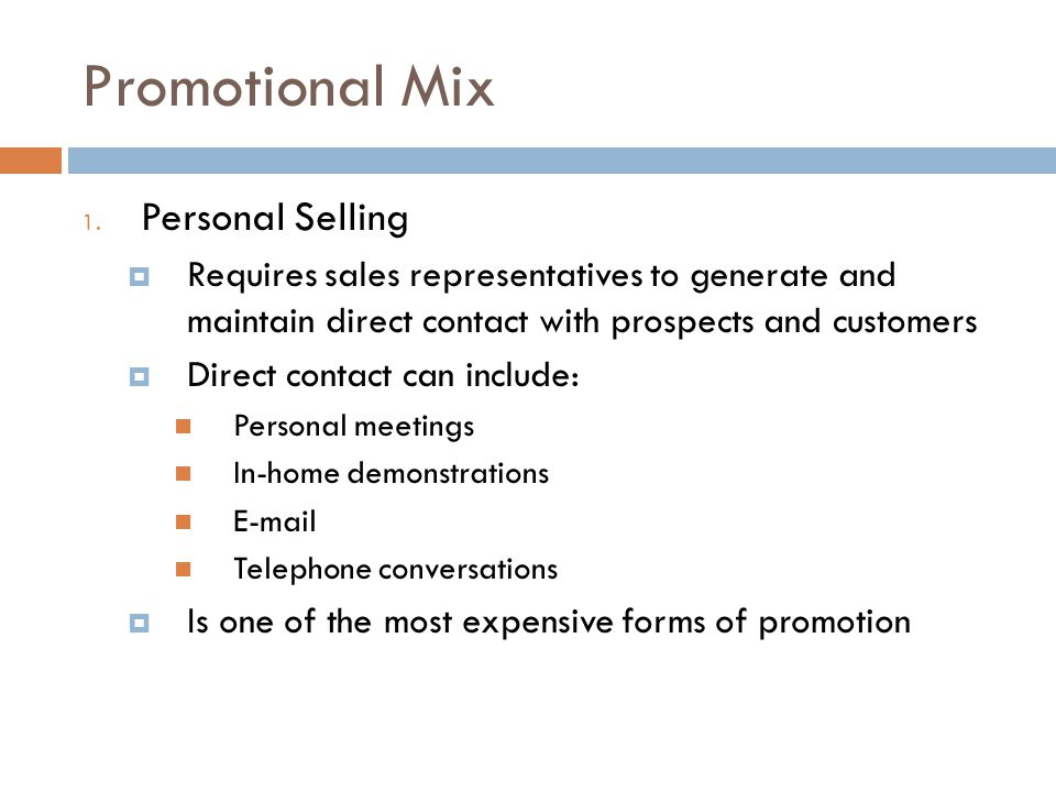 Promotional Mix Personal Selling