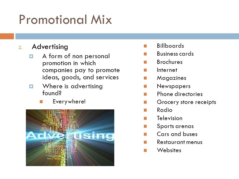 Promotional Mix Advertising