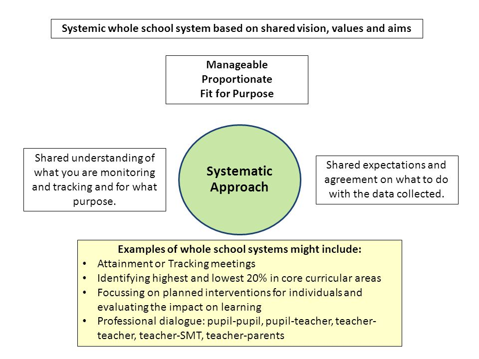 Systemic whole school system based on shared vision, values and aims