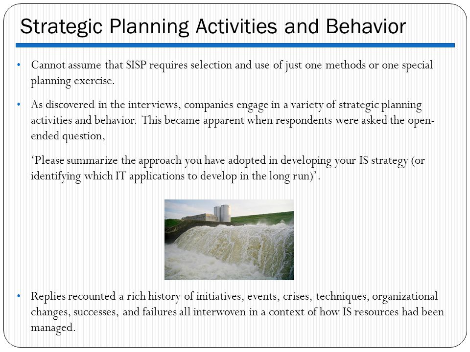 Strategic Planning Activities and Behavior
