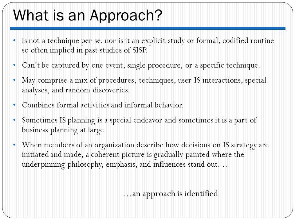…an approach is identified