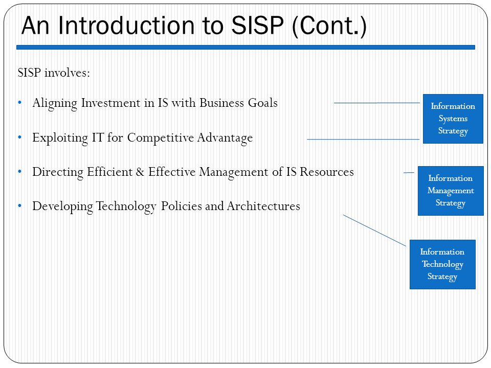 An Introduction to SISP (Cont.)