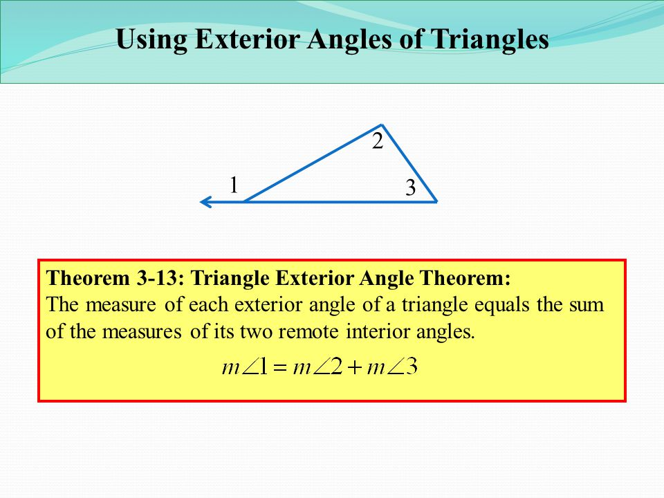 Lesson 3 3 4 parallel lines and the triangle angle sum - Sum of the exterior angles of a triangle ...