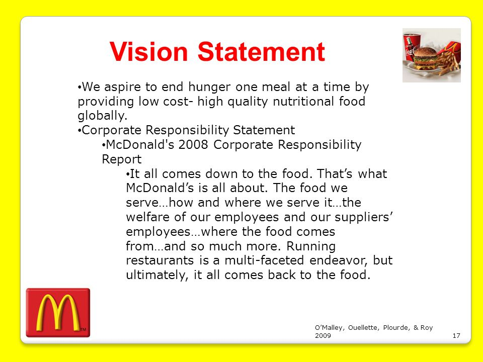 10 mission and vision of mcdonalds parts of resume