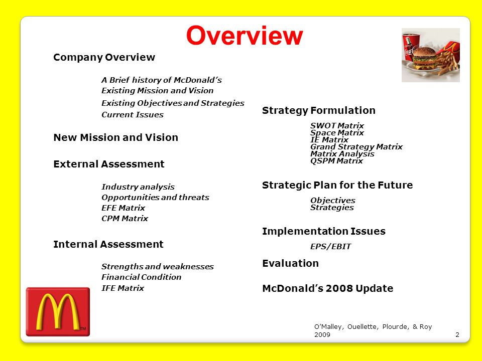 McDonald's Generic Strategy & Intensive Growth Strategies ...