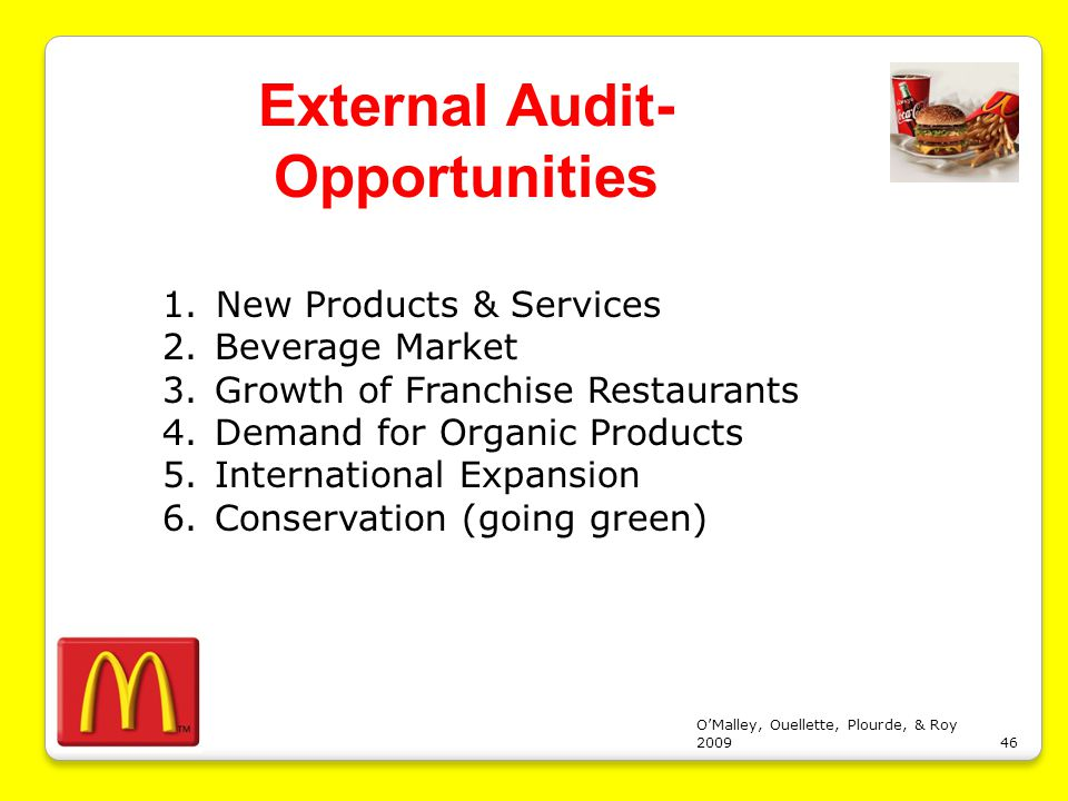 """mcdonalds strategy audit Compounding mcdonald's home market challenges are the  ms casanova has  promised steps to ensure food safety through increased audits of suppliers  """" we expect arcos dorados' growth strategies to reflect efforts in."""