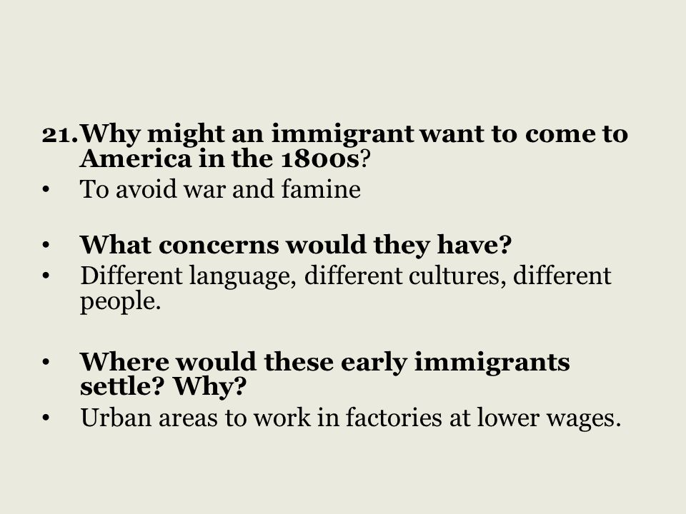 Why might an immigrant want to come to America in the 1800s