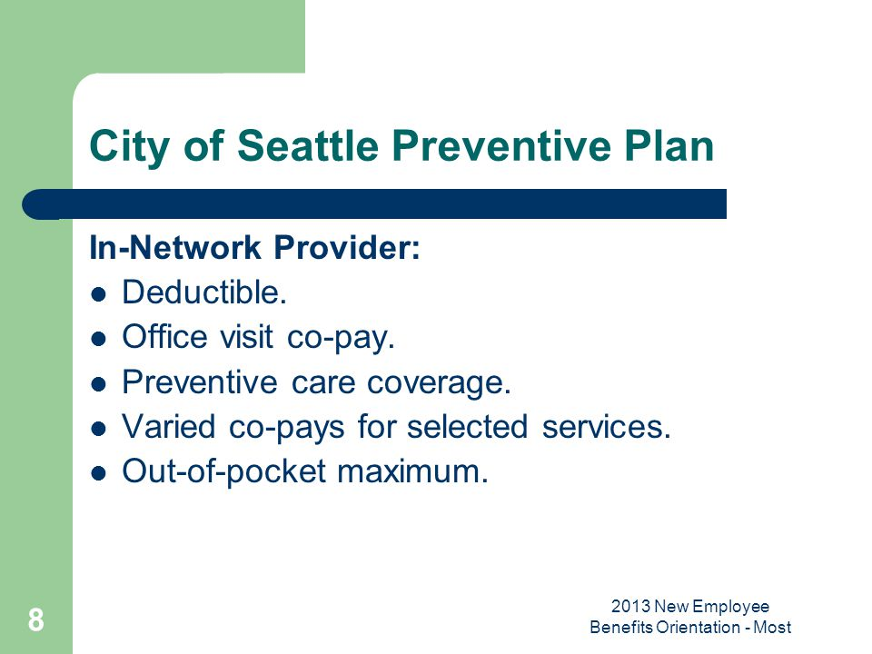 City of Seattle Preventive Plan
