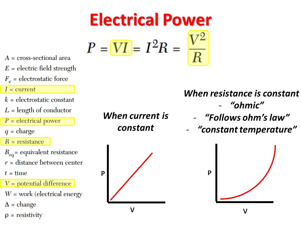 Electrical Power When resistance is constant ohmic