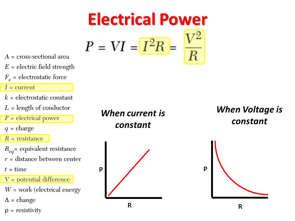 When Voltage is constant When current is constant