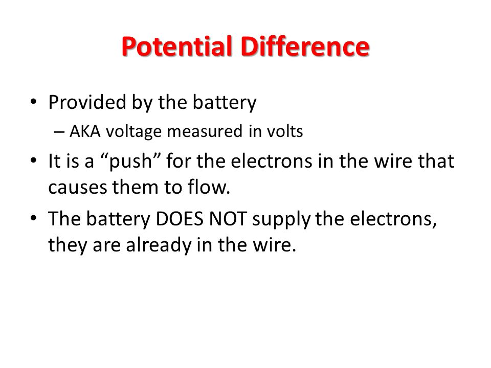 Potential Difference Provided by the battery