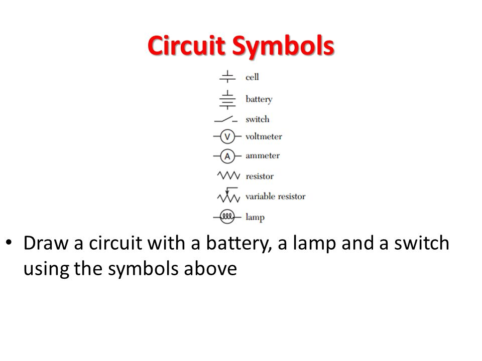 Circuit Symbols Draw a circuit with a battery, a lamp and a switch using the symbols above