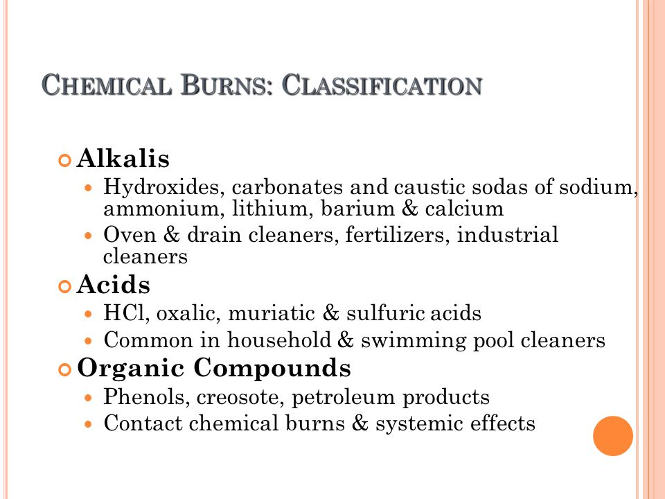 Burn and management of different types of burns ppt What kind of acid is used in swimming pools