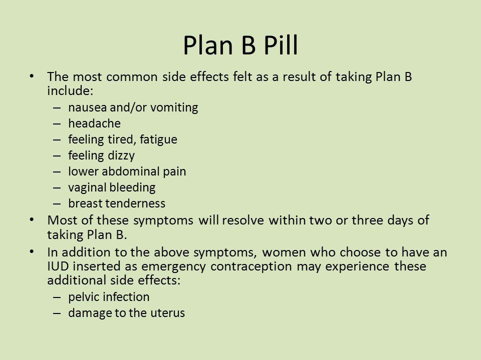 Plan B Pill Symptoms