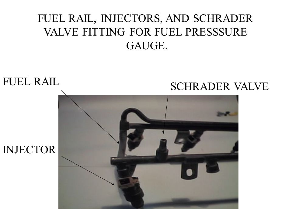 FUEL RAIL, INJECTORS, AND SCHRADER VALVE FITTING FOR FUEL PRESSSURE