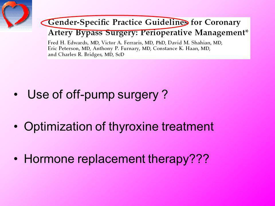 Use of off-pump surgery Optimization of thyroxine treatment
