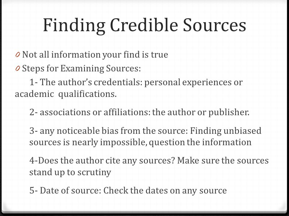 Credible sources for research
