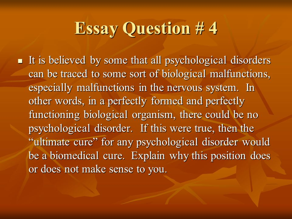 treatment of psychological disorders ppt essay question 4