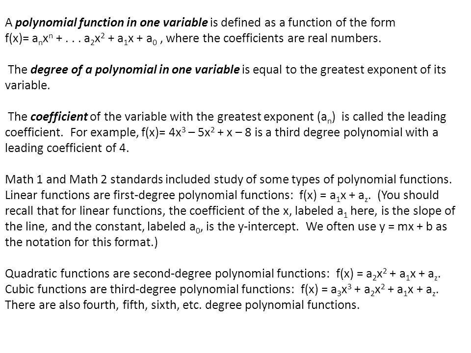 Graphs of Polynomials Functions