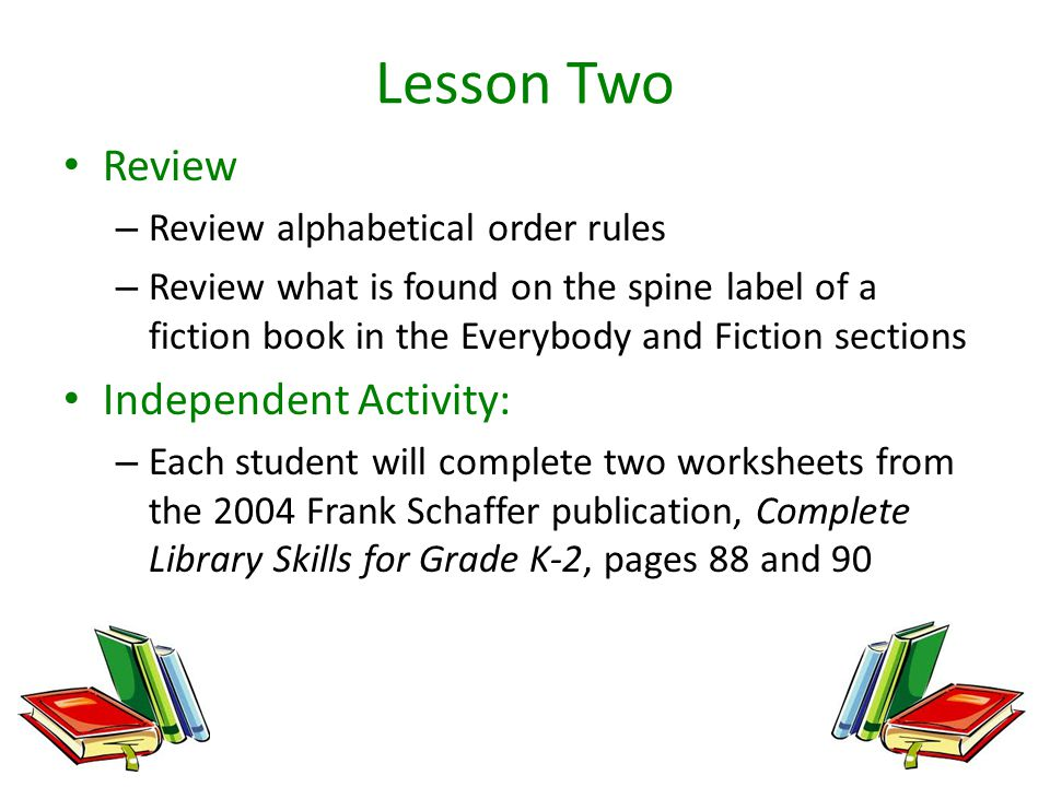 Fiction Book Location A Five Part Unit for Second Graders ppt – Library Skills Worksheets