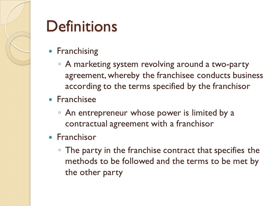 ... Knowing About Franchise Contracts Entrepreneurship 1 Lecture 11  Acquiring A Franchise Ppt Video
