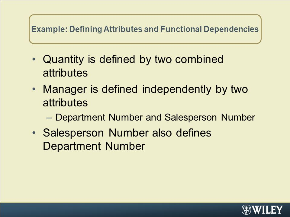 Example: Defining Attributes and Functional Dependencies