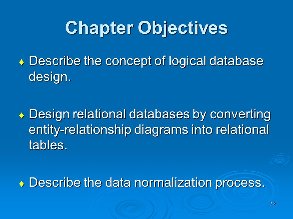 Chapter Objectives Describe the concept of logical database design.