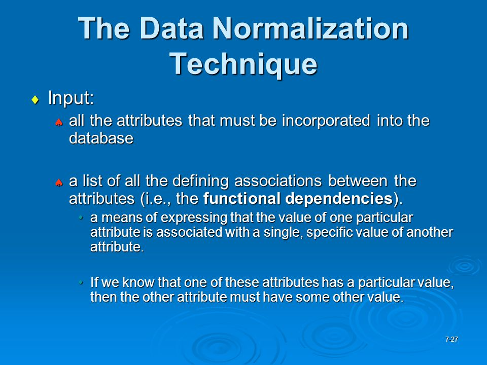 The Data Normalization Technique