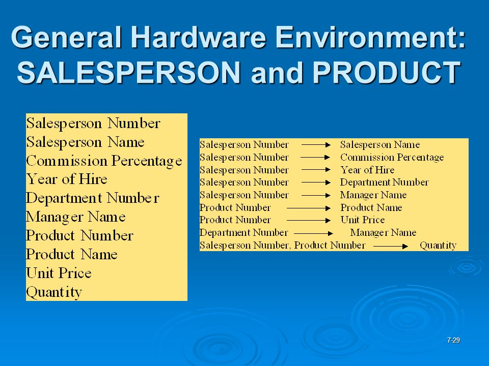 General Hardware Environment: SALESPERSON and PRODUCT