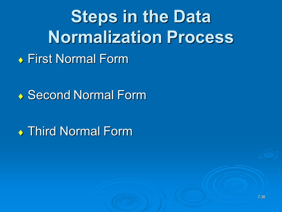 Steps in the Data Normalization Process