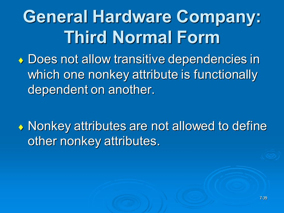 General Hardware Company: Third Normal Form