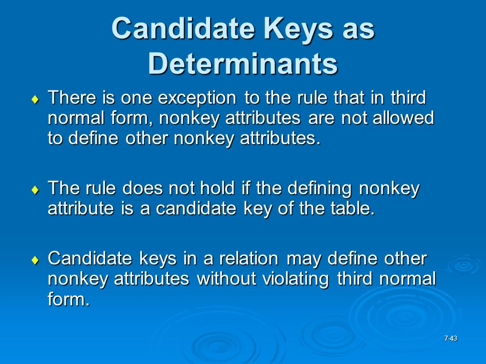 Candidate Keys as Determinants