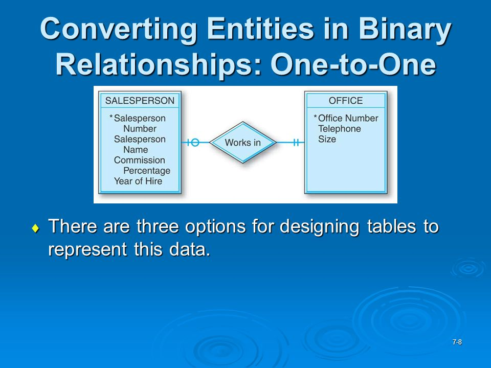 Converting Entities in Binary Relationships: One-to-One