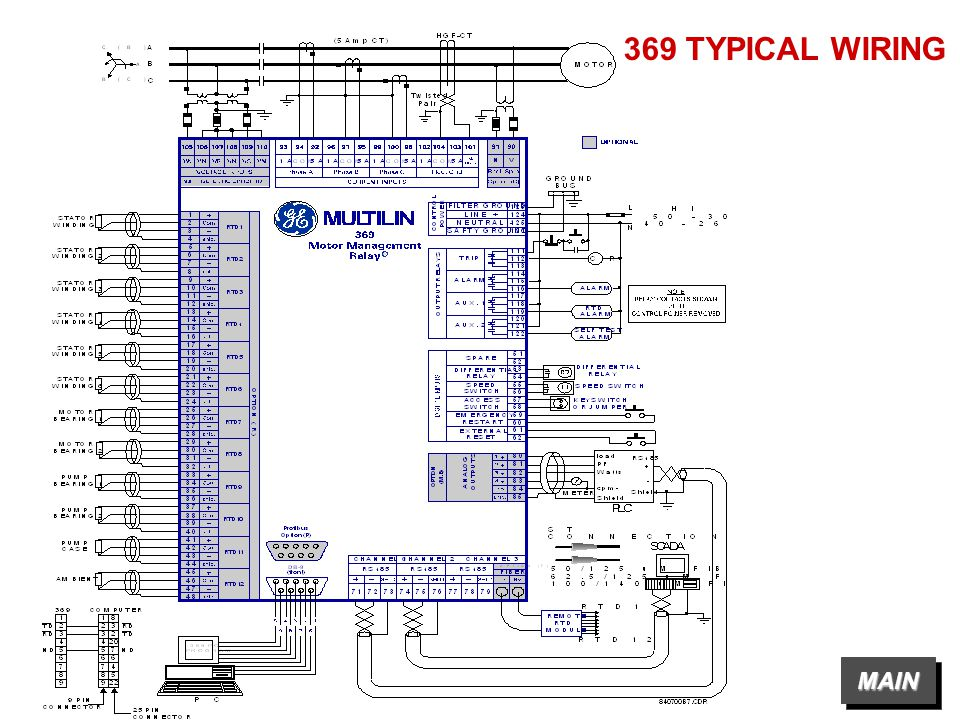 369+TYPICAL+WIRING+MAIN g ge power management 369 motor management relay ppt video multilin 369 wiring diagram at bakdesigns.co