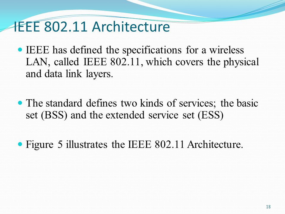Chapter 8 wireless services part 2 wireless lan ppt for Ieee definition