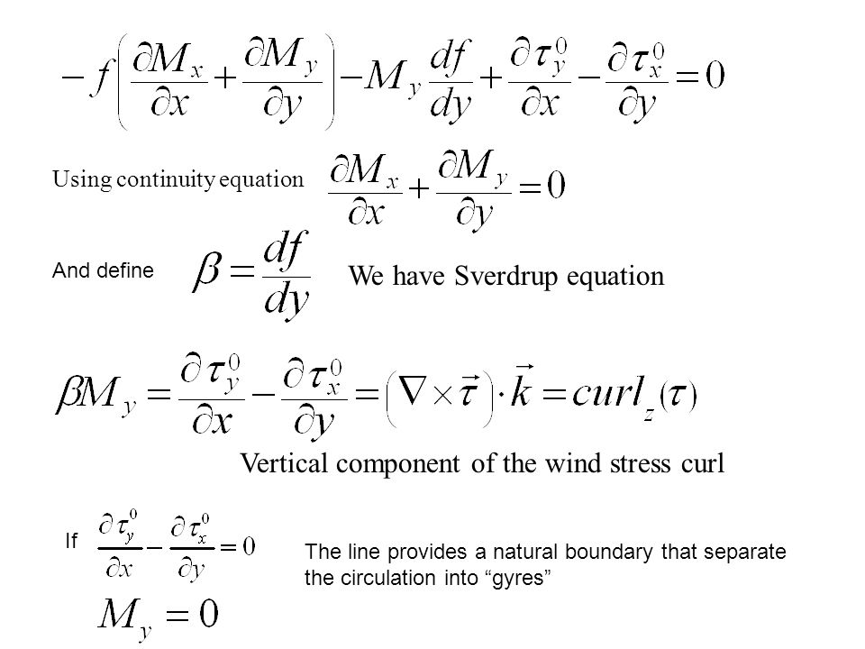 We have Sverdrup equation