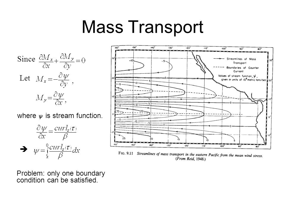 Mass Transport Since Let , ,  where  is stream function.