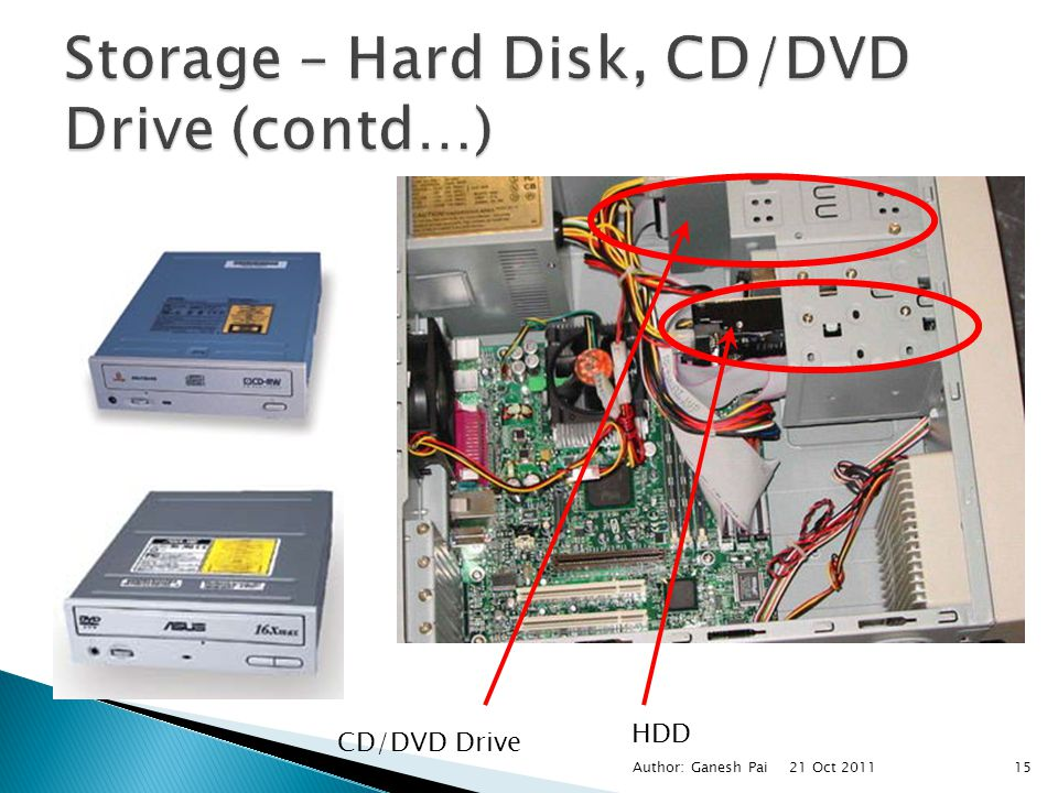 Storage – Hard Disk, CD/DVD Drive (contd…)