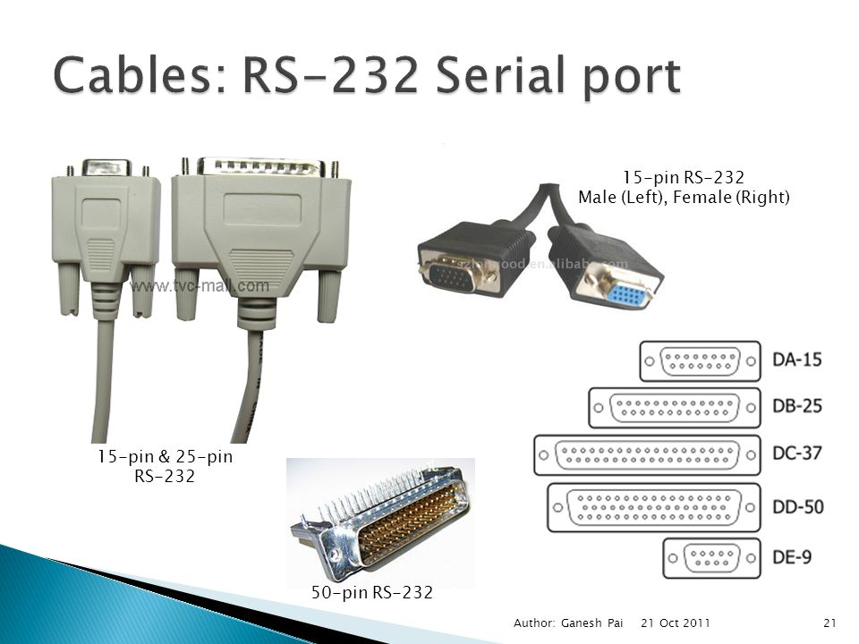 Cables: RS-232 Serial port