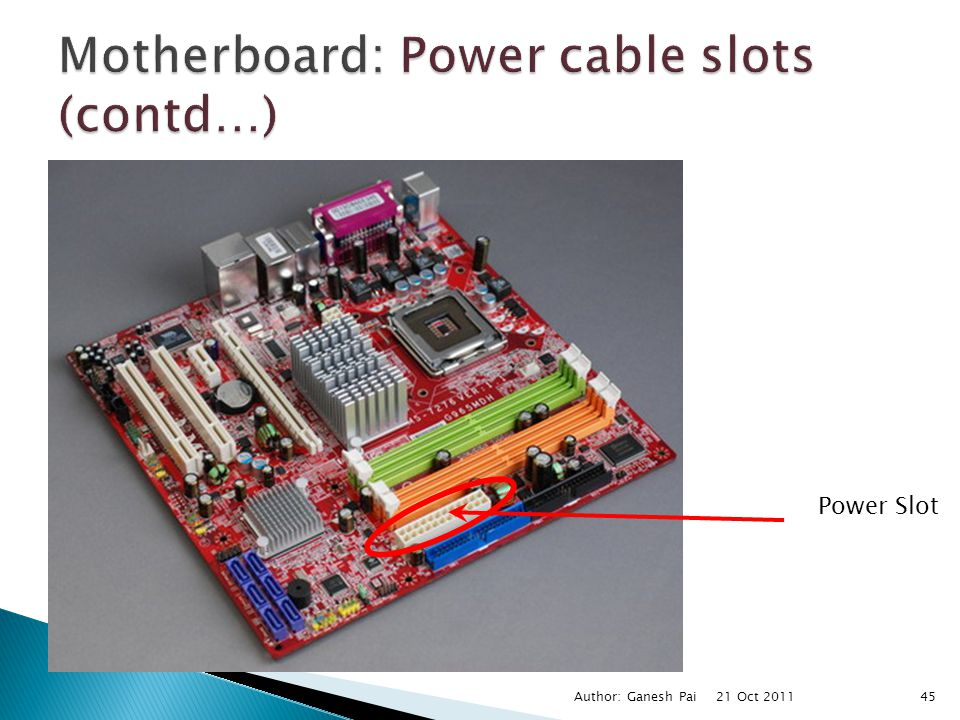 Motherboard: Power cable slots (contd…)