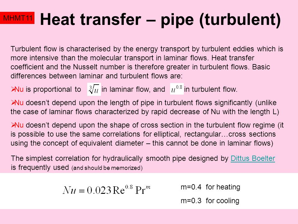 Heat transfer – pipe (turbulent)