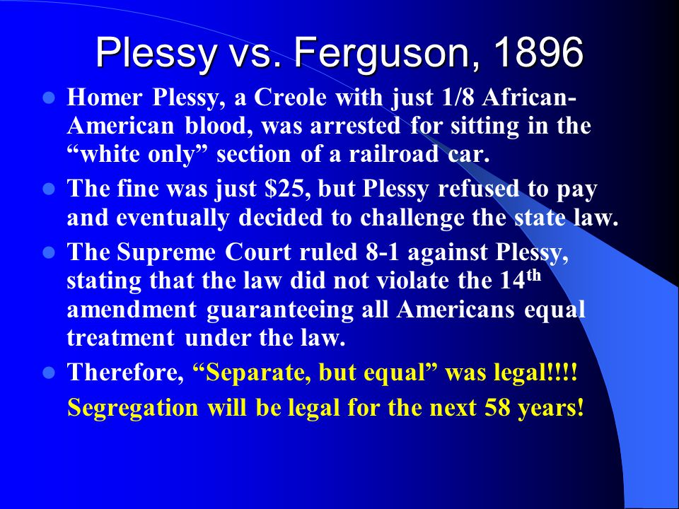 compare and contrast brown vs board of education plessy vs ferguson Using complete sentences, compare and contrast the subject matter and outcome of the cases of plessy v ferguson (1896) and brown v board of education (1954.