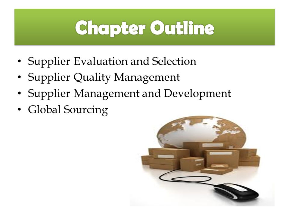 supplier selection and evaluation Supplier selection defined: simple definitions of suppliers and supplier selection brainstorming exercise: three brainstorming questions to get training group prepared for training supplier evaluation and selection process: process and important areas to consider of suppliers real world example: practice exercise.