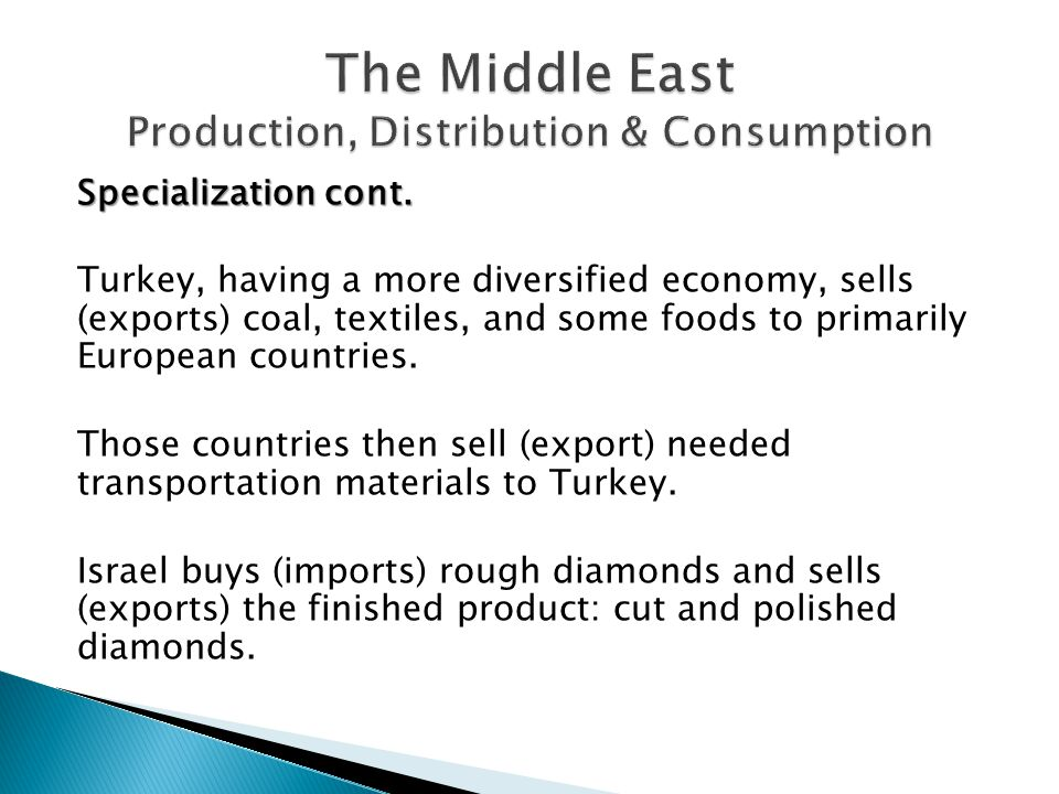The Middle East Production, Distribution & Consumption