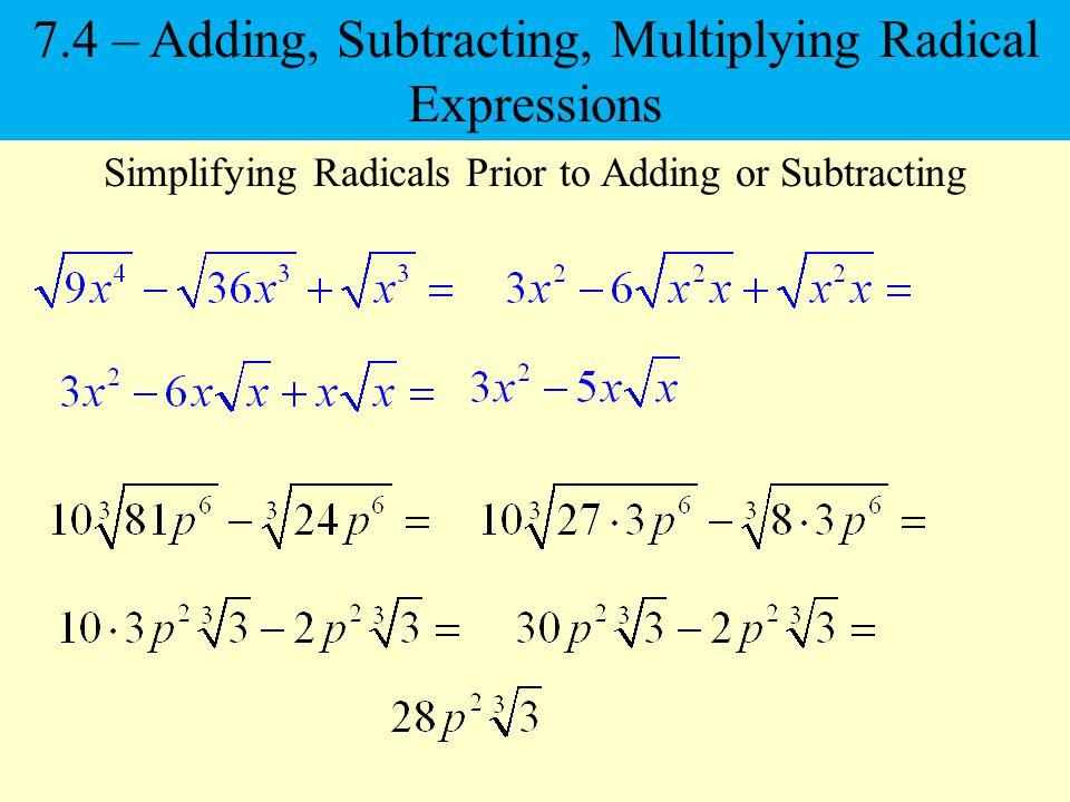 Radical Operations Adding &- Subtracting Radicals 1Copyright (c ...